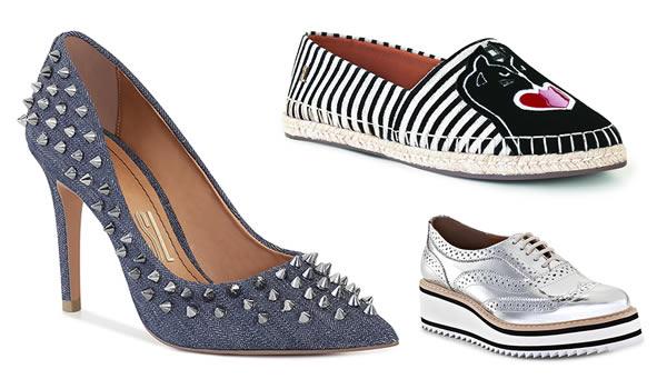 Looks da Moda Verão 2017 – Metalizados, denim, linho e spikes marcam presença nos calçados femininos