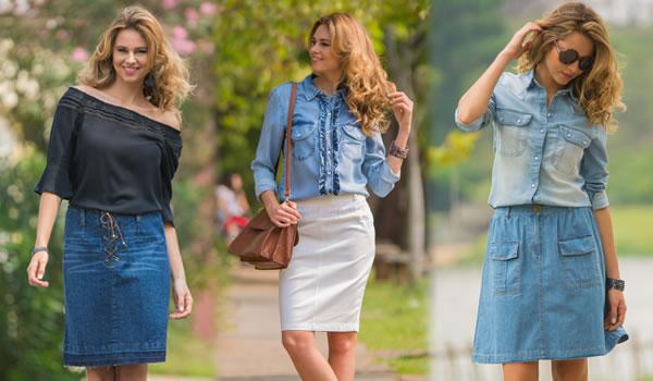 Decote ombro a ombro e saia jeans evasê - Saia lápis - Jeans delavê - Foto: Kika Rodrigues